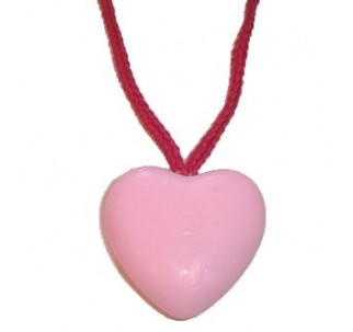 Pink Heart Shaped Soap-On-A-Rope